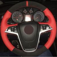Couverture en cuir rouge véritable cuir noir daim cousu main pour volant pour Buick Excelle XT GT Encore Opel Mokka