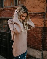 Womens Sexy U Neck Criss Cross Backless Long Sleeve Loose Kn...