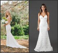 Katie May Bridal Gowns 2018 Nuovi abiti da sposa in pizzo Abiti Spaghetti Straps Aperto Sexy Sirena Dress Bridal Abito da sposa su misura Abiti da sposa