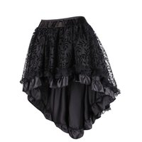 Steampunk Gothic Black Floral Flocking Tulle and Ruffled Vic...