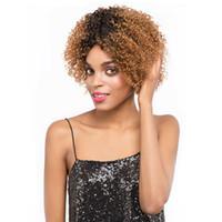 Parte Dianteira do laço Perucas de Cabelo Humano ombre cor 8 polegada Cabelo Virgem Encaracolado Afro cabelo humano perucas de Renda Para As Mulheres Negras Top qualidade