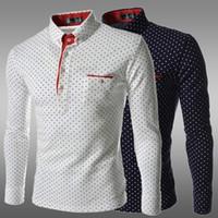 Çin Boyutu M-3XL Moda Polka Dot Erkekler Rahat Beyaz Siyah Mavi Smokin Gömlekler Uzun Kollu Slim Fit Camisas Hombre