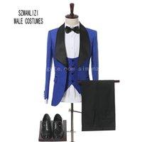 2018 recién llegado de los hombres esmoquin azul real Slim Fit traje de novio para hombres última moda hombres trajes de boda Terno Masculino por encargo