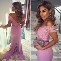 2018 Graceful Pink Off-Shoulder Mermaid Vestidos de dama de honra Applique Lace Fitted Backless Long Prom Evening Gowns Vestidos