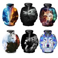 Long Sleeve Fire Wolf Fight Long Sleeve 3D Pattern Hoodie