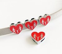 10PCs 8mm Enamel Family Heart Slide Charms Fit 8mm Pet Colla...