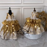 Gold Sequined Ball Gown Girls Pageant Dresses 2019 Vintage L...