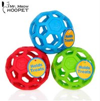 Hoopet Pet Cat Dog Toy Barato Drenagem Food Ball Natural Não-tóxico Cão de Borracha Brinquedo Geométrico Brinquedo Gato Treinamento