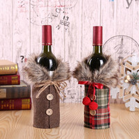 Bottle Cover Bow Button Clothes Style Christmas Wine Bottle ...