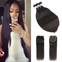 MSH 8A Peruvian Virgin Hair Straight With Closure Human Stra...