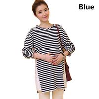 e6b845209e5b1b Plus Size Stripes Clothes for Pregnant Women Cotton Tee Nursing Clothing  Long Sleeves T-shirt Maternity Zipper Breatfeeding Top