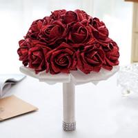 Mão Decoração do casamento barato nupcial Foam Bouquet Casamento Flor Artificial dama de honra nupcial Segurar Broche Flores CPA1586