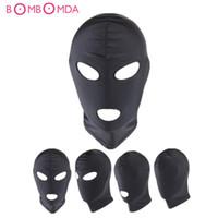 Fetisch Slave BDSM Bondage Fesseln Sex Maske Mund Auge Open Head Harness Augenbinde Slave Games Adult Produkte für Paare Y18102405