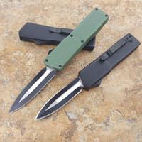 Alta qualidade pequena faca de bolso facas automáticas punho verde acampamento faca dobrável faca de defesa tático