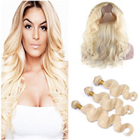 #613 Blonde Human Hair Weaves 3 Bundles with 360 Frontals Pr...