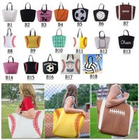18 Stili Borsa da baseball Borsa da baseball Borse sportive Fashion Softball Bag Football Soccer Basket Basket Cotton Tote Bag GGA189 50pcs