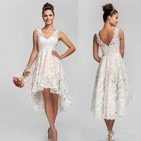 Boho trouwjurken hoge lage kant bruidsjurken v nek Empire plus size trouwjurken korte bruiloft gasten jurken