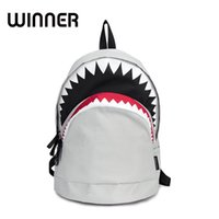 Cool Schoolbag Big Shark Cartoon Backpack Black Bookbags Fas...