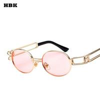 HBK New Gothic Retro Vintage Steampunk Spiegel Sonnenbrille Runde Brille Schutzbrillen Steampunk Sonnenbrille für weibliche Frauen Männer Hisper