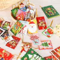 레드 크리스마스 성 3 차원 레이저 사용자 정의 종이 수제 엽서 도매 인사말 카드 크리스마스 선물을 잘라