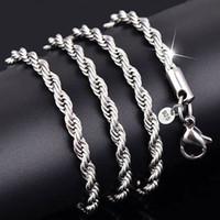Стерлинговое серебро 925 2 мм 3 мм скрученные веревки цепные ожерелья для женщин мужчин мода ювелирные изделия 16 18 20 22 24 26 28 30 дюймов