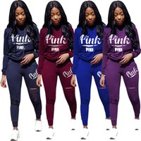 Ripped Hoodie + Pants Jogger Set Women PINK Letter Tracksuit ...