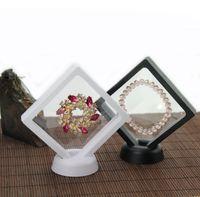 PET غشاء المجوهرات الدائري قلادة عرض موقف حامل صندوق التغليف والمجوهرات العائمة عرض القضية تخزين مربع