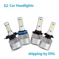 доставка по DHL H4 H7 H11 HB4 COB светодиодные фары автомобиля лампы Hi-Lo Луч 72 Вт 8000LM 6500 К авто фары Противотуманные фары лампы 12 в