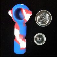 2018 Новый тип маленькой bong свободной перевозкы груза с оптовой дешевой ценой малый силикон bong американский цвет Силиконовая труба воды с стеклянной чашей