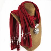 Presente dos Namorados Coração pingente lenços com franjas borlas mulheres colar de jóias cachecol variedade de cores disponíveis frete grátis