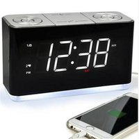 도매 알람 시계 라디오 디지털 FM 라디오 휴대 전화 USB 충전 포트 수면 타이머 백업 배터리 책상 테이블 시계