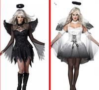 Disfraz de Ángel Blanco Caído del Diablo Negro Mujeres Sexy Disfraces de Halloween Disfraces para Adultos Disfraz de Desgaste de la Cabeza