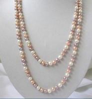 "LONG 48 ""7-8mm自然多色赤屋養殖真珠のネックレス"