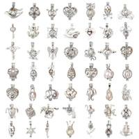 Configuración de collar de perlas 50 estilos Cuentas de plata esterlina Jaulas de medallón 3 * 2.5mm Collar de pulseras de bricolaje Colgantes de joyería Ajustes de joyería
