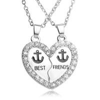 2 ADET 1 Takım Best Friends Çift Kolye Dostluk BFF İki Parçaları Erkekler Kadınlar Için Çapa Rhinestone Kalp Kolye Kolye Hediyeler Takı Retro