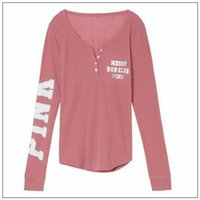 Pink Hoodies Harajuku Low Cut Button Hoodies Women Pink Lett...