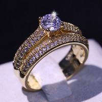 Victoria Wieck New Arrival luxe Bijoux 925 SilverYellow or rempli Topaze Birthstones Gemstones Couple Bague de mariage cadeau