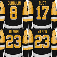 Mens 2017-18 Season Jersey 8 Brian Dumoulin 17 Bryan Rust 23 Scott Wilson مع 50 years 100 years 2017 Stanley Cup Final Champions Patch