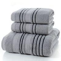 Juego de 3 piezas Juego de toallas de algodón gris para hombres Toalla 2 piezas Toalla de cara Toalla de mano 1 pieza Baño Toallas de ducha de camping Baño