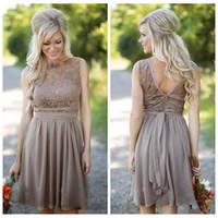 2021 Şifon Kısa Ülke Gelinlik Modelleri Dantel Üst Nedime Elbise Elbise Ucuz Düğün Konuk Elbise Plaj Hizmetçi Honer Yaz Vestidos