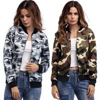 BOFUTE New Women' s Clothing Camouflage Jackets O- Neck L...