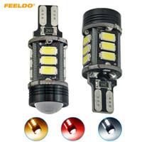 FEELDO 2PCS 3-цветный T15 5730SMD 12LED + 1,5 Вт 9 Вт Клин автомобилей Светодиодные лампы Canbus без ошибок светодиодные лампы с объективом # 1438