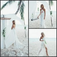 2018 New Cheap Mermaid Beach Wedding Dresses Backless Lace A...