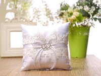 Top Sale Lace Square Wedding Ring Pillows Cheap Sale Rhinest...
