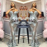 Sexy Asoebi Mermaid Prom Dresses Fashion Off Ramię Zroszony Koronki Aplikacje Długie Party Suknie 2018 Plus Size Celebrity Suknie wieczorowe