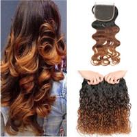 Vague Eau Vierge Indienne Cheveux Humains # 1B / 4/30 Auburn Ombre 3Bundles avec Fermeture Humide Ondulé 3Tone Ombre 4x4 Dentelle Fermeture avec Tissage