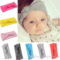 wholesale 12 Solid colors elastic fabric simple knotted baby...