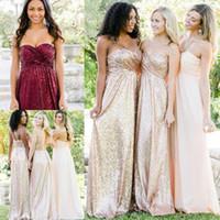 Bling dama Vestido para casamentos Rose Ouro Borgonha lantejoulas partido baratos Vestido Querida Plus Size Maid Formal de honra do vestido até o chão