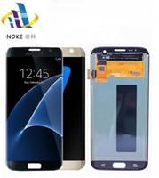 Yeni Siyah Şerit Altın LCD Ekran SAMSUNG Galaxy S7 kenar Ekran için G935 SM-G935F Dokunmatik Digitizer Meclisi