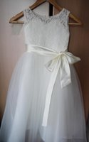 Tulle Lace Girl First Communion Dress with Ribbon Sash Flowe...